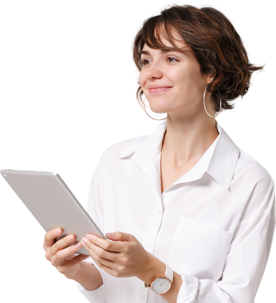 young woman holding a tablet