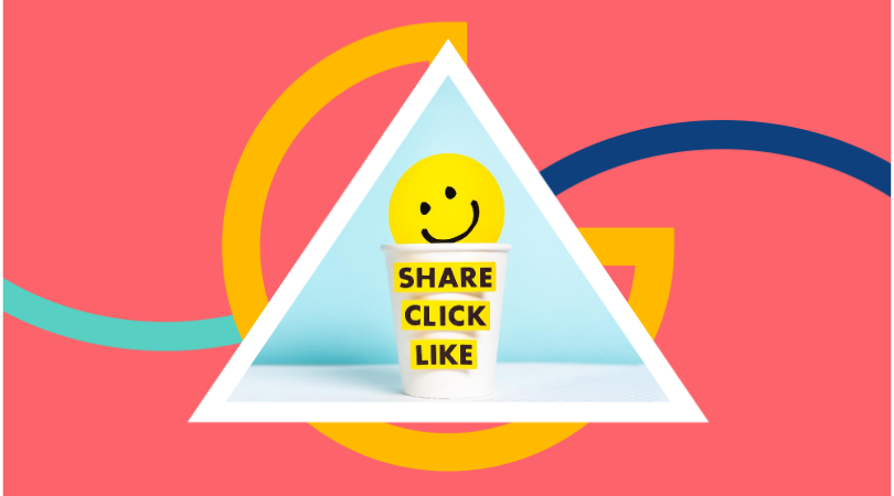 """""""share click like"""" with smiley"""